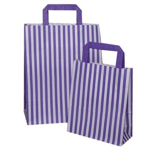 Violet Candy Stripe Plat Poignée SOS Sacs Fête D/'Anniversaire Papier Sac Cadeau