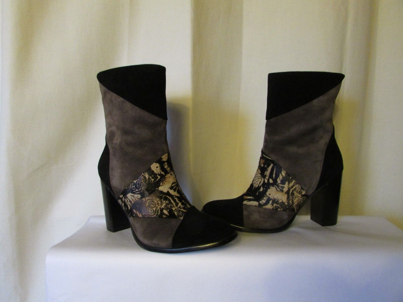 boots couleur pourpre suede black grey/hair and grey/hair black poulain patterns size 37 adeb2c