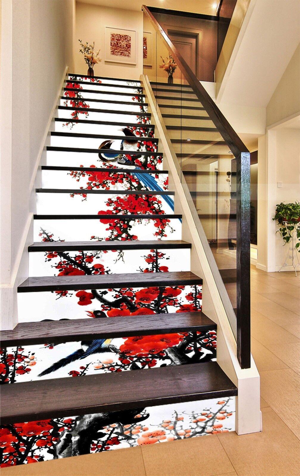 3D Plum bird Stair Risers Decoration Photo Mural Vinyl Decal WandPapier AU