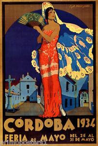 1934 CORDOBA SPAIN FLAMENCO SPANISH DANCE TRAVEL TOURISM VINTAGE POSTER REPRO