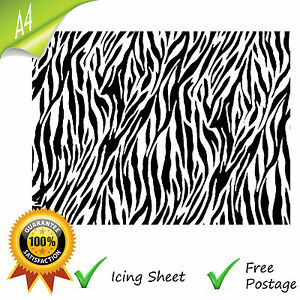 Edible a4 printed icing sheet zebra animal print black for Animal print edible cake decoration