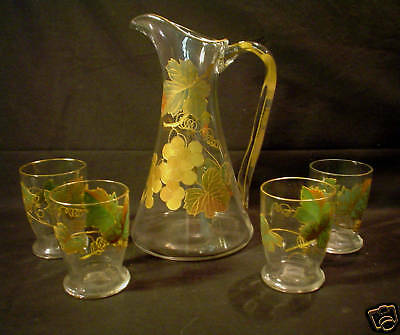 Glass Search For Flights Lovely Antique Glass Lemonade Set Pottery & Glass Pitcher & 4 Tumblers Pleasant In After-Taste