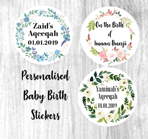 Details About Personalised New Baby Birth Celebration Stickers Aqeeqah Mashallah Favour Label