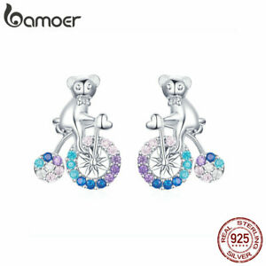 BAMOER-Fine-925-Sterling-Silver-CZ-Stud-Earrings-Bicycle-bears-For-Women-Jewelry
