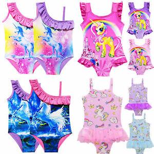 36c4a32fd859d Image is loading Kids-Girls-Unicorn-Animal-Swimwear-Swimming-Costume- Swimsuit-