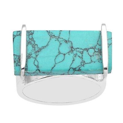 Fine 925 Silver Blue Turquoise Geometric Handmade Ring Bar Bezel Wide Shank Band