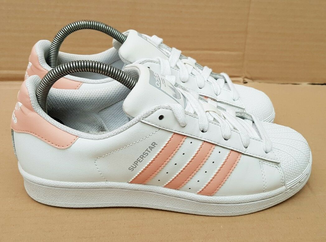 ADIDAS SUPERSTAR TRAINERS blanc PEACH STRIPES Taille 4RARE COLOUR EXCELLENT