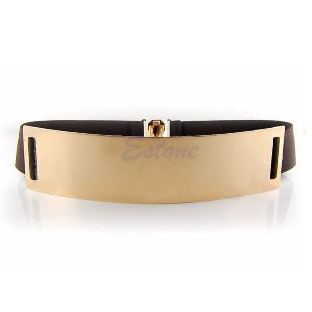 Gold Metal Metallic Bling Mirror Plate Wide Waist Stretch Elastic Sexy Belt Band