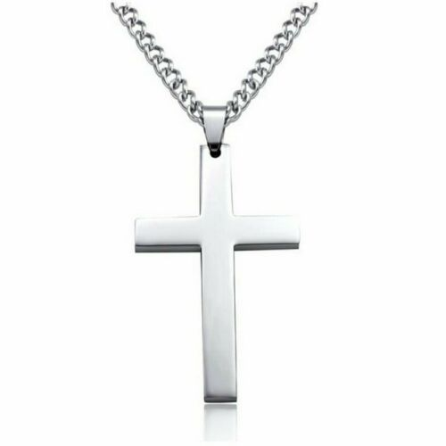 Father/'s Day Gift Stainless Steel Cross Mens Gold//Silver Pendant Necklace Chain