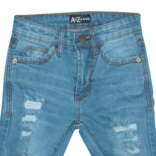 Kids Girls Light Blue Skinny Jeans Denim Ripped Fashion Stretchy Pants Jeggings