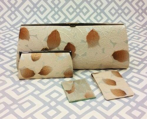 Vintage 4 Piece Leaf Print Clutch Bag Wallet Pouch