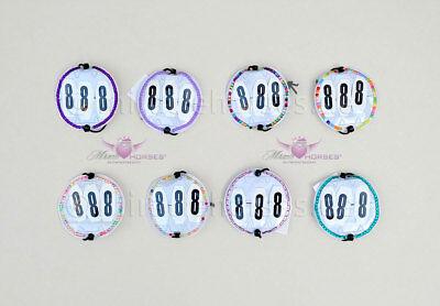 10 Paar Startnummern-Taschen mit Nummern Turniernummern Kopfnummern rund