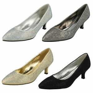 Ladies-Pewter-Gold-Silver-Spot-On-evening-court-shoe-UK-Sizes-3-8-F9811