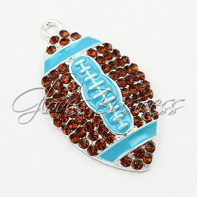 1PC 39*23mm Aqua American Football Pendant For Bubblegum Chunky Bead Necklace