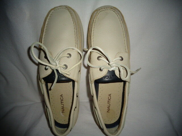 NAUTICA Boat Mac Toe Men's Cream Leather Lace Up shoes Size 10.5 M