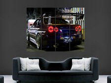 NISSAN SKYLINE R34 GTR BLACK CAR ART POSTER WALL PRINT LARGE GIANT