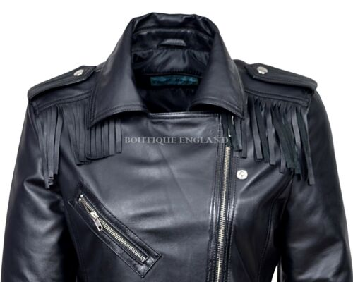 Ladies BLACK Biker Style Jacket Fringes Motorcycle Designer Nappa Leather 1124