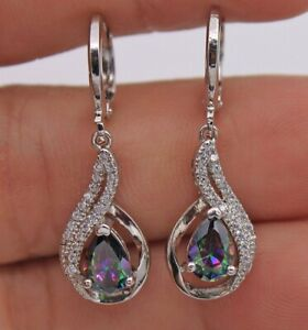 Mystic-Rainbow-Topaz-Water-Drop-Gemstone-925-Silver-Dangle-Earrings-Jewellery
