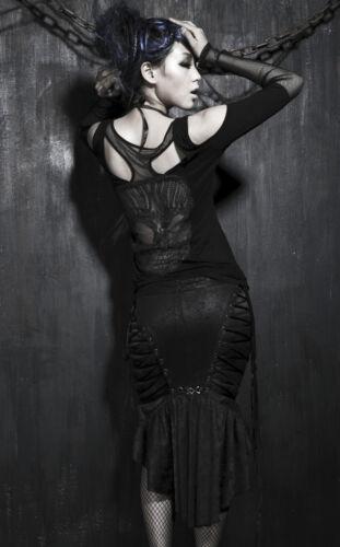 Top oberteil gothic Netz schädel motiv ausschneiden schnürung spitze Punkrave