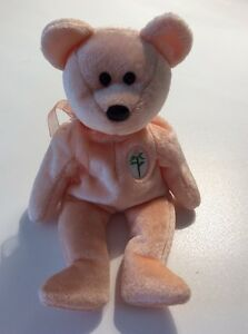 Ty Beanie Baby Dearest -Mothers Day Bear 2000 Peach Bear With Rose No Hang Tag