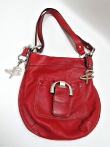 Image Is Loading B Makowsky Authentic Red Leather Shoulder Crossbody Purse