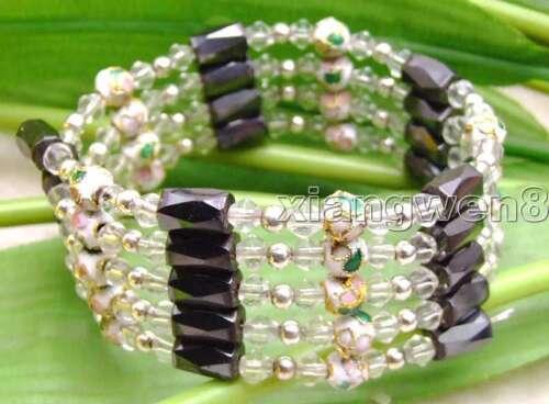 """Rond 6 mm NOIR CLOISONNE Hématite Magnétique Perle 28/"""" Long Collier//Bracelet b280"""