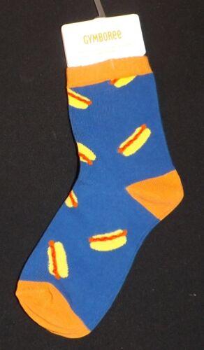New boys GYMBOREE hotdog blue /& orange socks Size small