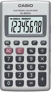 Calcolatrice CASIO HL-820VA 8 Cifre % Radice Quadrata Memoria Struttura Metallo