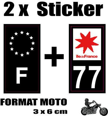 2 Stickers Style Plaque Moto 3x6 Cm Black F étoiles Blanches + Département 77