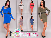 Women's Bodycon Scoop Neck Long Sleeve Tunic Mini Shift Dress Size 8-12 8146