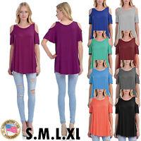 Women's Short Ruffle Sleeve Cold Shoulder Tunic Top Scoop Neck T-Shirt S,M,L,XL