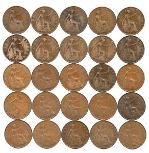 Job Lot (2) - Date run de 25 x George V Pennies 1911-1936