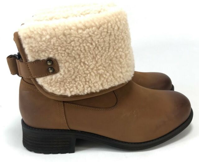 3a30de4f40e Ugg Aldon Water-Resistant Leather Plush Wool Lining Chestnut Women's Boots