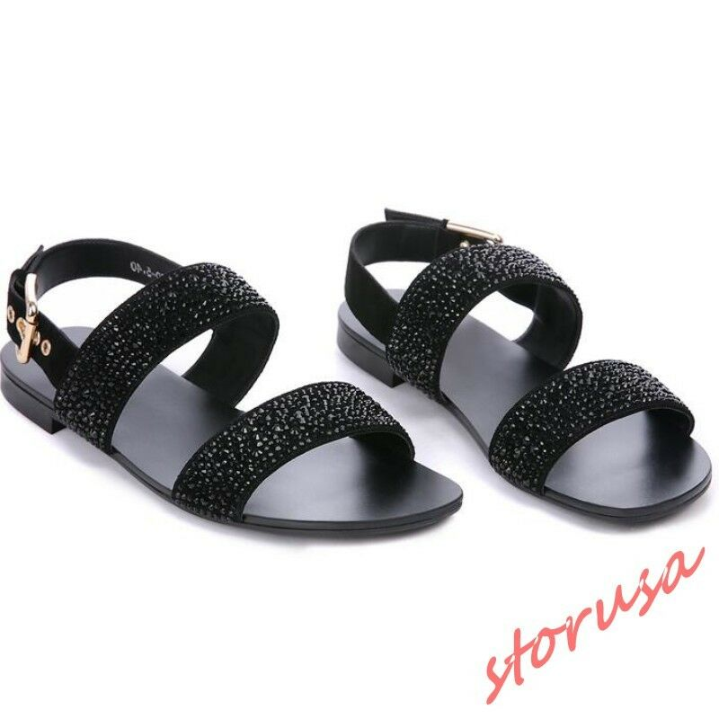 Uomo Rhinestone Ankle Strap Slingback Sandals Sandals Sandals Open Toe Casual Slides Pelle sz 3768f2