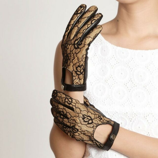 ELMA Ladylike Genuine Suede leather lace overlay Gloves Gold Logo Button Cutout