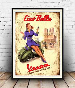Ciao-Bella-Vespa-old-motor-scooter-artwork-Reproduction-poster-Wall-art