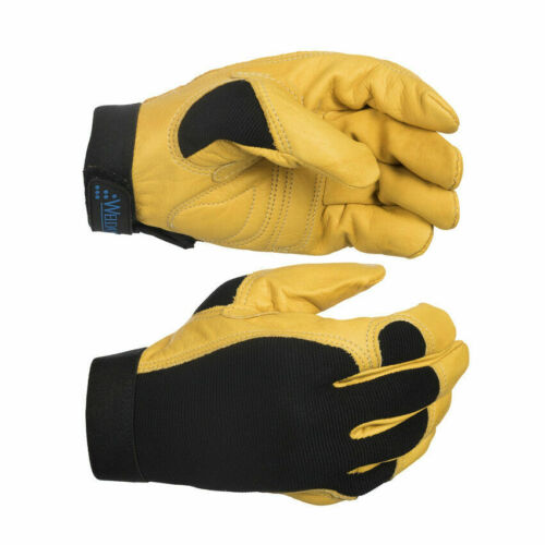 HIGH QUALITY WELDAS Leather Mechanics Work Gloves with Stretchable Spandex Back