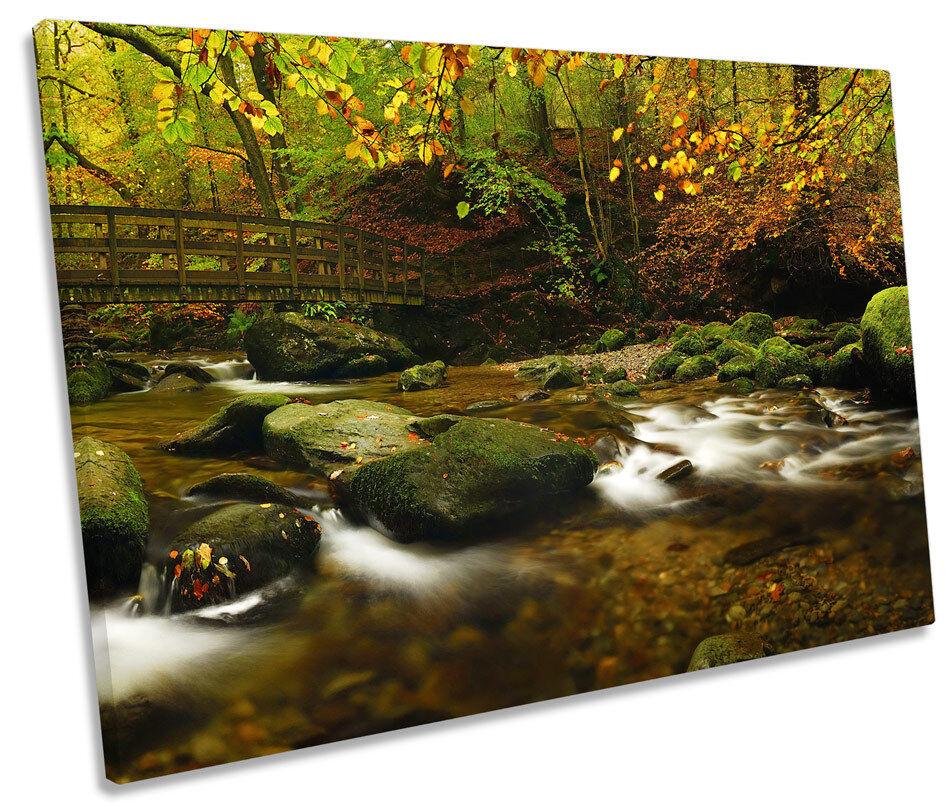 Autumn Forest River Bridge SINGLE CANVAS WALL ART Box Framed