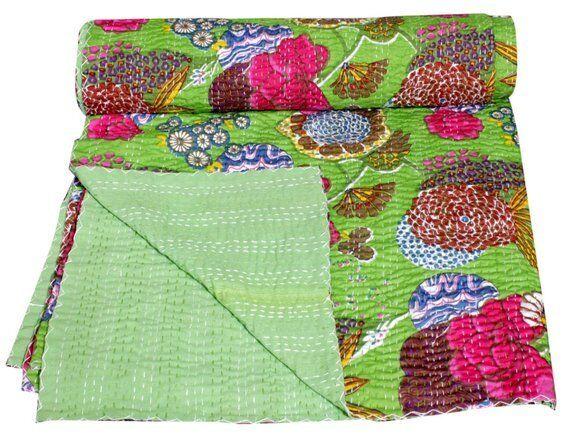 Indian Handmade Kantha Quilt Paisley Print Bedspread Throw Cotton Blanket Gudri