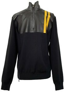 NEW-RALPH-LAUREN-PURPLE-LABEL-MEN-039-S-BLACK-LEATHER-PATCH-SWEATER-M-2250
