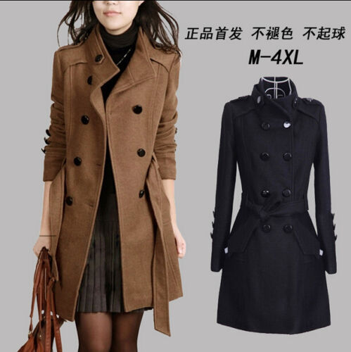 Chic Womens Slim Fit Double Breasted Trench coat Woolen Coat Korea style Jackets