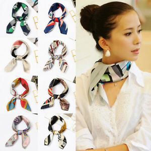 Scarf-Head-Neck-50x50cm-Women-Ladies-Satin-Hair-Tie-Hair-Band-Handkerchief