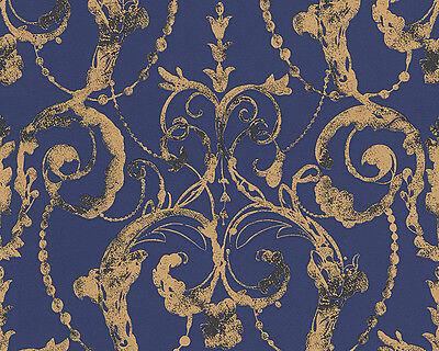 Vlies Tapete AS Flock 4 Barock 95691-4 956914 Modern blau anthrazit gold