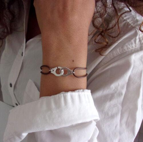 bracelet femme homme menotte argenté et cordon coulissant 16 couleurs au choix