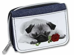 Pug (B+W Photo) with Red Rose Girls/Ladies Denim Purse Wallet Christ, AD-P92R2JW
