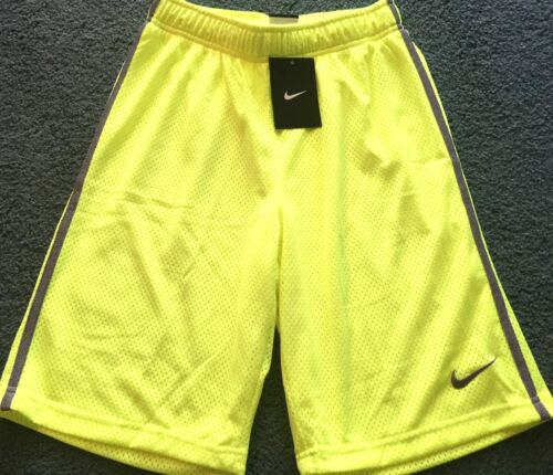 NWT Nike Boys Youth L Neon Yellow//Gray Double Layer Mesh Shorts Large