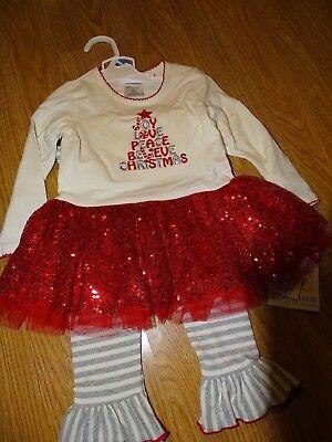 NWT Blueberi Boulevard Baby Girls Ruffle Christmas Tree Holiday Outfit 24M