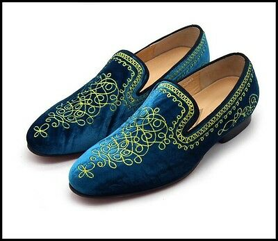 Luxury Mens Peacock Velvet Loafer Gold Embroidery Slip On Casual Prom Shoes Size
