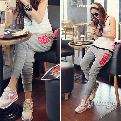 Korean Women Casual Gray Harem Hip Hop Dance Sports Pencil Pants Trousers S M L