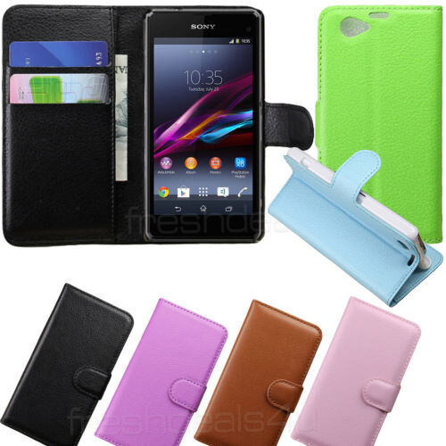 Premium Leather Flip Stand Case Cover Wallet for Sony experia Z1 Compact Z2 Z3
